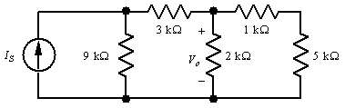 In the network shown, Vo = 6v.  Find Is