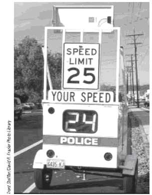 Police radar detects the speed